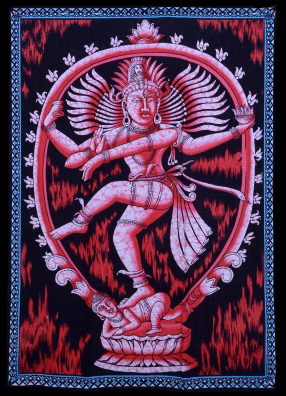 Indiase wandkleed muurkleed katoen dansend Shiva rood - c.a.  80 x 110 cm