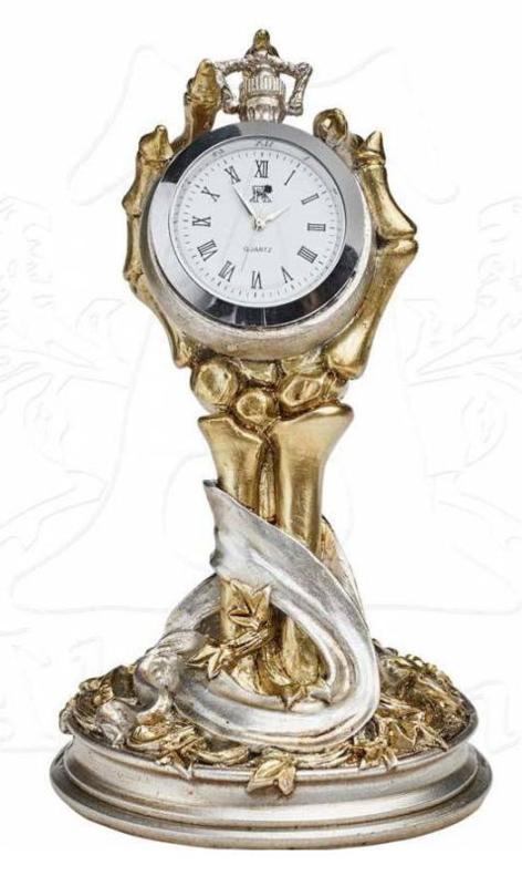 Alchemy of England the Vault - Hora Mortis - klok met skeletale hand 13 cm hoog