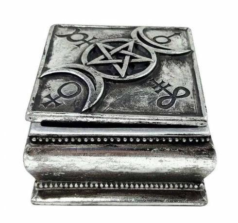Alchemy The Vault - Sieradendoos Drievoudige Maan met Pentagram Leviathan Kruis 9 x 9 x 5.5 cm