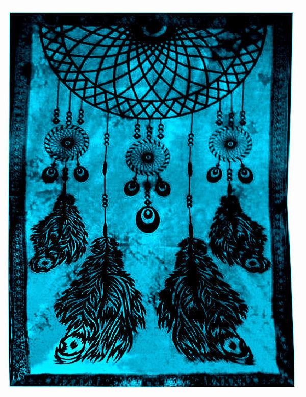 Oosterse Grand Foulard.Bedsprei Wandkleed Grand Foulard Droomvanger Turquoise 210 X