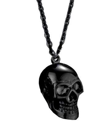 Zwarte doodskop Gothic horror schedel - 316 titanium staal zwart - 3 cm hoog