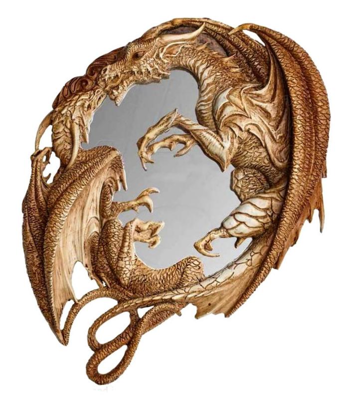Alchemy of England the Vault - Morgan Theomachia draken muurspiegel - 25 cm hoog