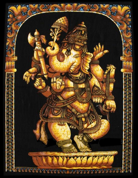 Indiase muurkleed wandkleed Ganesha geel dessin 2 - c.a.  80 x 110 cm