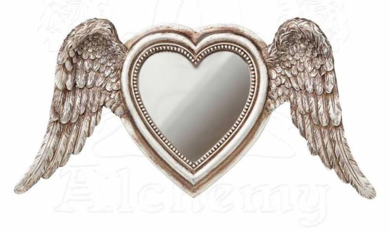 Alchemy of England - Victoriaanse spiegel - hartvormig met engelenvleugels - 14 x 29 cm