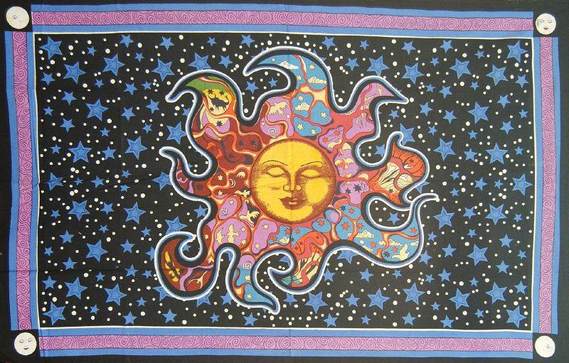 Een persoons bedsprei, wandkleed Dreaming Sun - zon met sterren - 120 x 220 cm