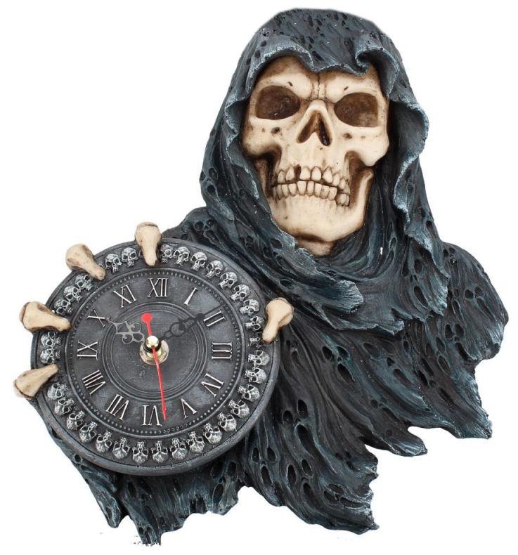 Face of Time - Magere Hein Grim Reaper wandklok - 29 cm hoog