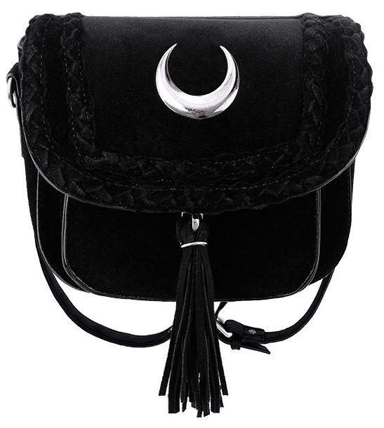Restyle zwarte fluwelen Gothic Wicca Bohemian schoudertas met maanteken Velvet Moon