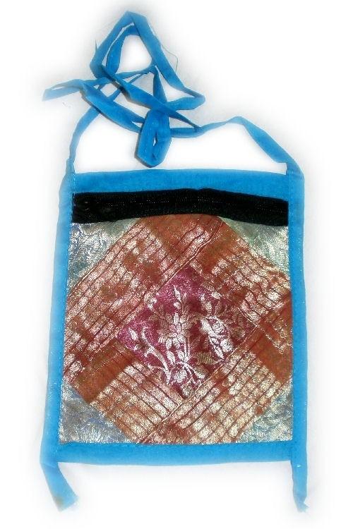 Passport bag of Indian sari silk