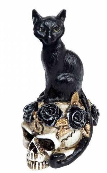Alchemy England - The Vault - Zwarte Kat op Doodskop met Rozen - miniatuurbeeld - 5.8 cm hoog