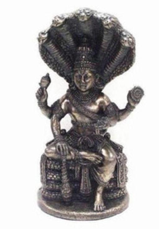 Vishnu met nagas bronskleurig - 13 cm hoog