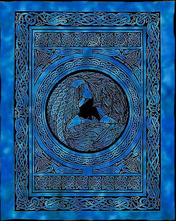 Bedsprei wandkleed grand foulard Indiase katoen keltisch moeder maagd oudwijf 220 x 224 cm