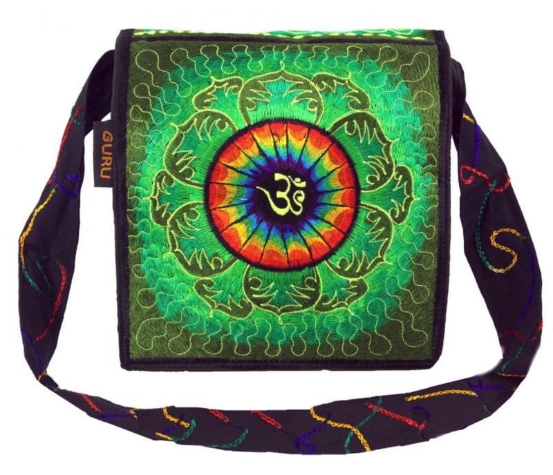 Hippie Boho Goa geborduurde tas OHM - 22 x 22 x 3 cm