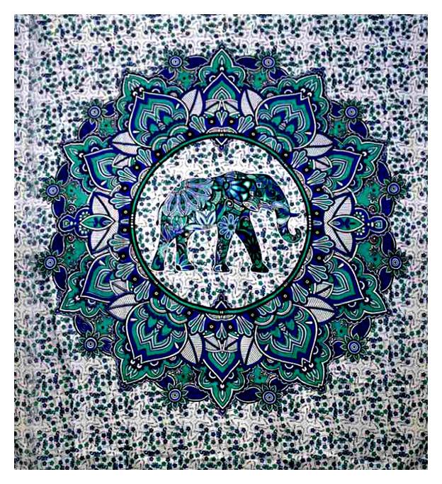 Oosterse Grand Foulard.Bedsprei Wandkleed Grand Foulard Olifant In Cirkel Groen 210