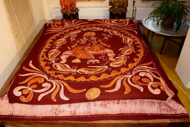Oosterse Grand Foulard.Bedsprei Wandkleed Grand Foulard Gordijn Batik Ganesha