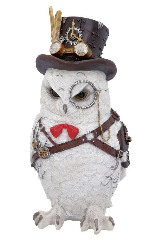 Cogsmith's Owl - Steampunk Uil met Bril en Hoge Hoed - 23.5 cm hoog