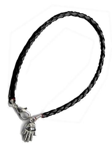 Leatheroid black string Kabballah bracelet with small Hamsa