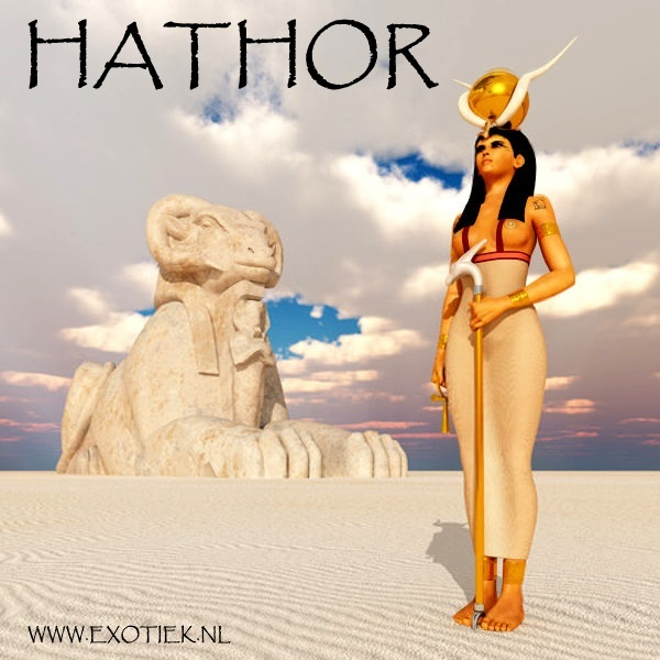 Egyptische godin Hathor met Amon Ra sfinx 2.jpg