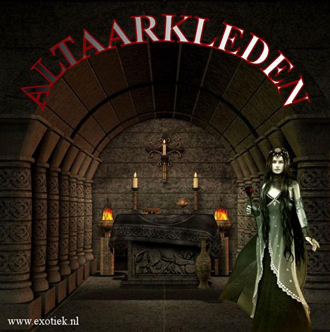 altaarkleed met keltisch dessin in kerk met kaarsen en gothic meisje met roos 2.jpg