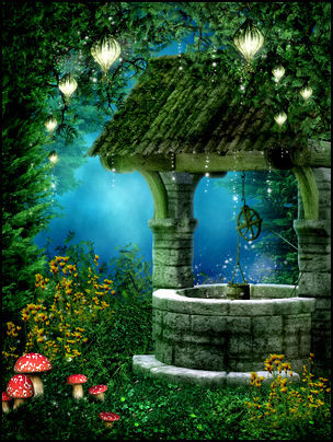 fairy wishing well fee put green grass.jpg