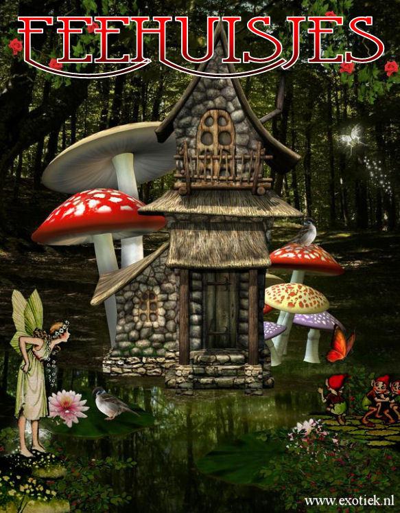 fee huisje in bos met paddestoelen vlinders lotusbloemen fee en elven 2.jpg