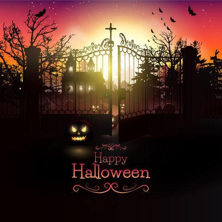 happy halloween plaatje met pompoen kerkhof vleermuizen.jpg