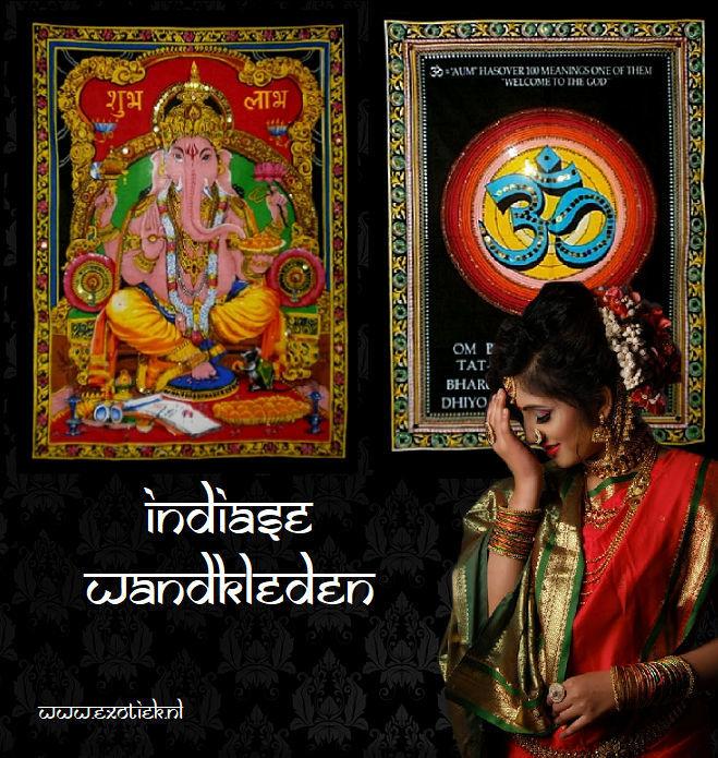 indiase wandkleden met verlegen hindu vrouw.jpg