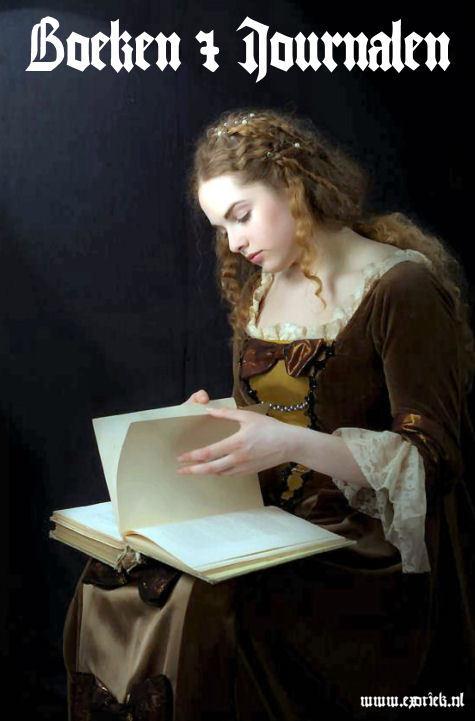 mooie gothic rennaissance meisje goud krullende haren leest boek 2.jpg