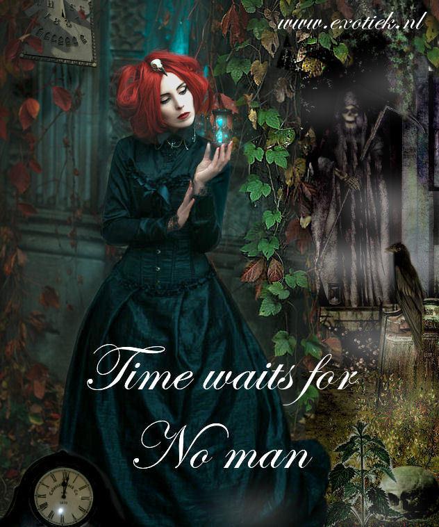 time waits for no man gothic meisje met rood haar en zandloper met magere hein.jpg
