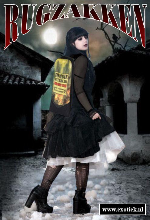 zombie hunter gothic meisje met darkside rugzak.jpg