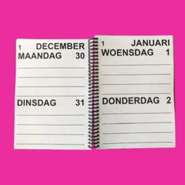 Grootletter agenda 2021, agenda met grote letters en cijfers in A5-formaat