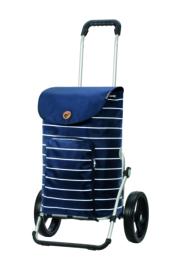 Boodschappenwagen met grote 3-spaken wielen, Royal Shopper Mia Blauw