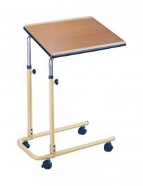 In hoogte verstelbare bedleestafel op wieltjes met houten blad