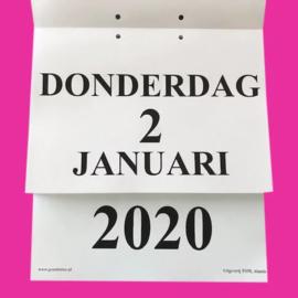 Grootletter dagkalender 2020 in A4-formaat, scheur dagkalender met grote letters en cijfers