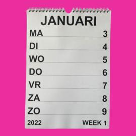 Grootletter weekkalender A4 2022, weekkalender met grote letters en cijfers