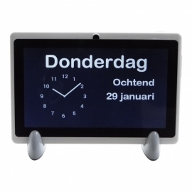 Kalenderklok analoog voor Alzheimer en Dementie met beeldbellen en weergave dagdeel, dag en datum