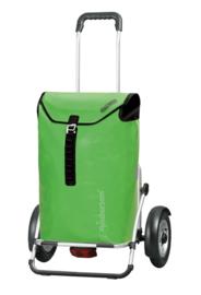 Boodschappenwagen voor achter de fiets met grote luchtbanden en spatborden, Royal Shopper Plus Ortlieb Groen