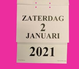 Grootletter dagkalender 2021 A5-formaat, scheur dagkalender met grote letters en cijfers