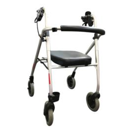 Tweedehands grijze lichtgewicht rollator met zitting, rugleuning en stokhouder - 16806335