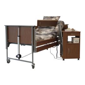 Hoog-laag bed, ziekenhuisbed 90 x 200 cm, Ecofit S in walnoot kleur