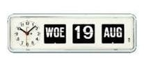 Kalenderklok tafelmodel BQ-38 Wit, kalenderklok die dag en datum weergeeft