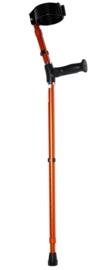 In hoogte verstelbare elleboogkrukken in oranje met gesloten manchet