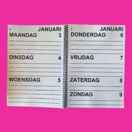 Grootletter agenda 2022, agenda met grote letters en cijfers in A4-formaat