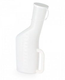 Transparante urinaal met handvat, deksel en maatvoering