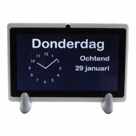 Kalenderklok analoog wit Alzheimer en Dementie met dagdeel, dag en datum - DCWDA7-WS