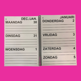 Grootletter agenda 2021, agenda met grote letters en cijfers in A4-formaat