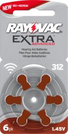 Batterijen bruin 312 voor hoortoestellen, Rayovac Extra Advanced