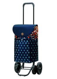Boodschappenwagen met 4 wielen, ook om te duwen, Quattro Shopper Lily Oranje