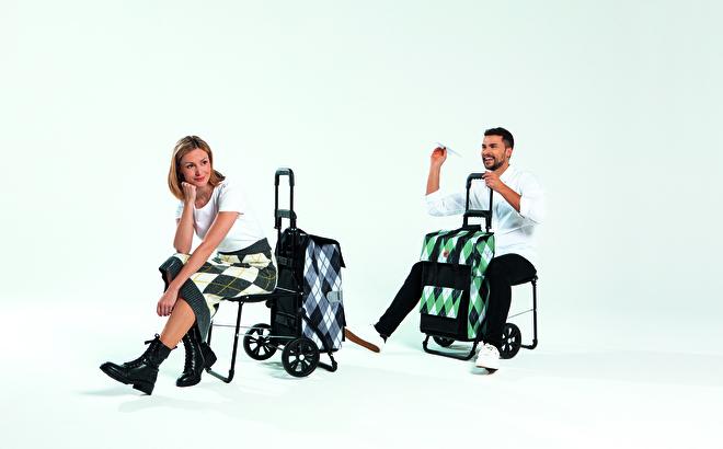 Opvouwbare boodschappenwagen met zitje, Komfort Shopper van Andersen