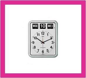 Kalenderklok, dag datum klok voor slechtzienden BQ-12A wit