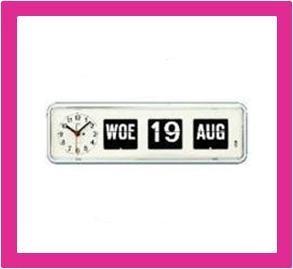Kalenderklok, dag datum klok voor slechtzienden BQ-38 wit
